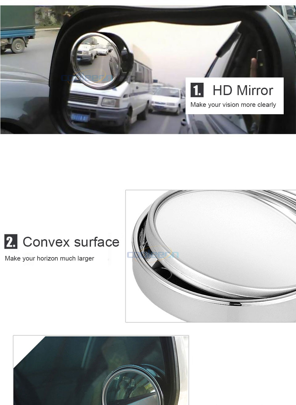 HD Car Blind Spot Mirror 360 Degree Adjustable Wide Angle Horizon Round Convex Auto Side Mirror Vehicle Rearview Safe Driving (10)