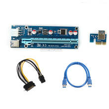 USB 3.0 PCI-E Express 1X 4x 8x 16x Extender Riser Adapter Card SATA 15pin Male to 6pin Power Cable