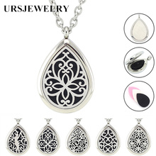 Free with Chain as Gift! Hot Sale 28*38mm Magnetic Silver 316L Stainless Steel Teardrop Essential Oil Diffuser Pendant Necklace(China)