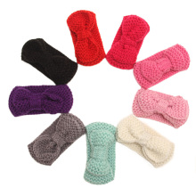 2016 Fashion 10pcs/lot Cute Children bowknot Knitted Headwrap Kids Knitting wool crochet headband ear warmers for Baby Grils