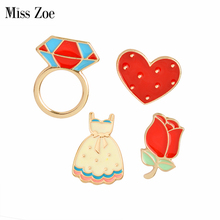 Miss Zoe Cartoon Rose Flower Dress Loop Ringshaped Heart Brooch Button Pins Denim Jacket Pin Badge for Bag Hat Jewelry Gift