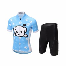 Short Sleeve Cycling Jersey Sets Ropa Ciclismo Kids Breathable Cycling Clothing Children Cute Dog Bicycle Boys Clothes(China)