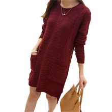 2016 New Winter Knitted Dress Autumn Fashion Women Casual Long Sleeve O-Neck Loose Knitting Pocket Sweater Dresses Vestidos