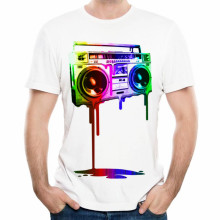 XQXON-Great design man t-shirt Melting Boombox CD print men 3d t shirt