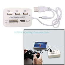 OTG Memory Card Adapter 3 Micro USB 2.0 Hub With SD/MS/M2/TF 480Mbp Multi-In-1 Card Reader LED Indicator(China)