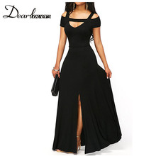 Buy Dear lovers 2017 New Autumn Women Sexy Party Dress Burgundy Cold Shoulder Front Slit Flare Maxi Dress LC61752 Black Blue Grey for $20.51 in AliExpress store
