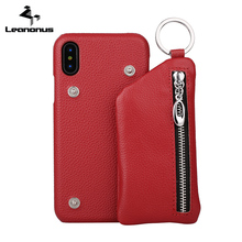 Leanonus Genuine Leather Case Pouch for iPhone X 7 8Plus Corium Wallet Bag Cover for iPhone 8 Plus Authentic Leather Phone Case(China)