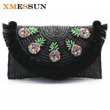 2017 High Quality Beach Bag Straw Day Clutch Messenger Bag Women Envelope Bag Lady Tassel Pineapple Summer Crossbody Bags C82(China)