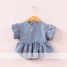 Baby Girl Tshirt 2017 Summer Cotton Girl Plaid Flowers T-shirts Puff Sleeve Korea Brand Kids Tshirt Wholesale Childrens Tops