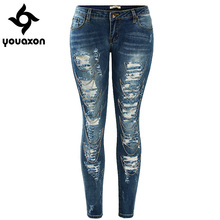 1882 Youaxon Women`s Handcrafted Chain Decor High Street Ripped Low Waist Stretch True Denim Jeans For Women