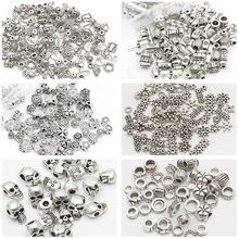 Buy Mixed Size Flower Spacer Beads charm bige hole Zinc Alloy Loose Round Beads Metal Silver Plated European Beads DIY Jewelry for $1.59 in AliExpress store