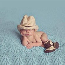 DreamShining Cowboy Baby Hats Infant Newborn Photography Props Handmade Crochet Beanie Hat Boots Knittted Caps Girls Boys