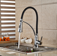 Deck Mount Brass Dual Sprayer Ktchen Sink Faucet Chrome Finish with Bracket Bar Mixer Tap Hot and Cold Water