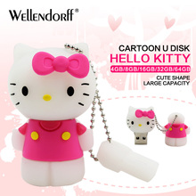 2018 New Cute cartoon pink hello kitty usb flash drive 16GB 8GB 4GB pen drive 64GB 32GB flash memory stick U disk(China)