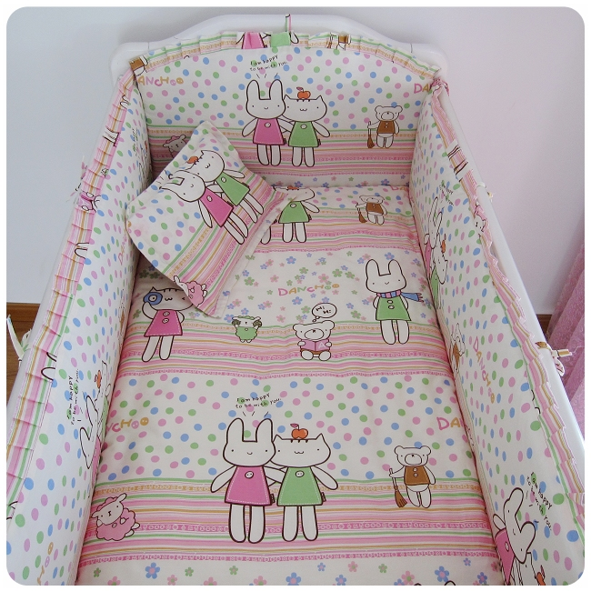 Promotion! 6PCS  baby cot bedding set 100% cotton curtain crib bumper baby cot sets ,include(bumper+sheet+pillow cover)