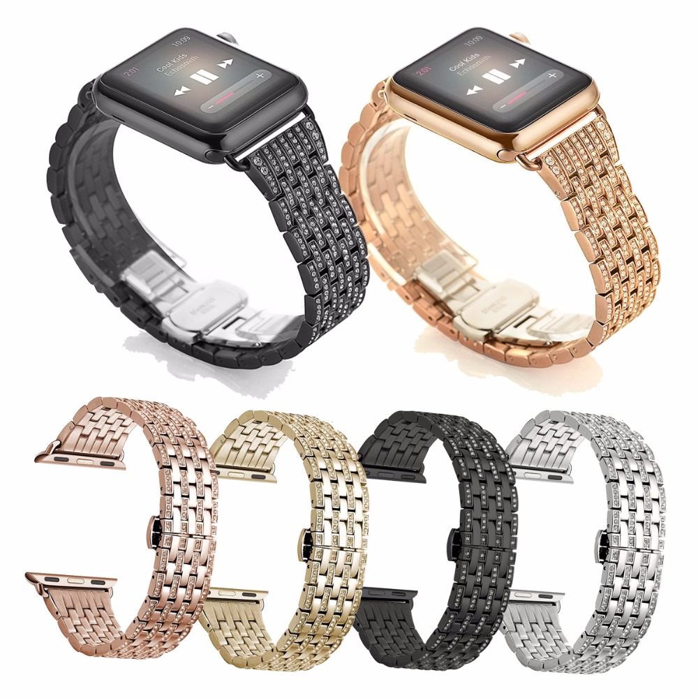 For Apple Watch Band Crystal Rhinestone Diamond Watch Band Luxury Stainless Steel Bracelet Strap Watch Bands for Series1 Series2<br>