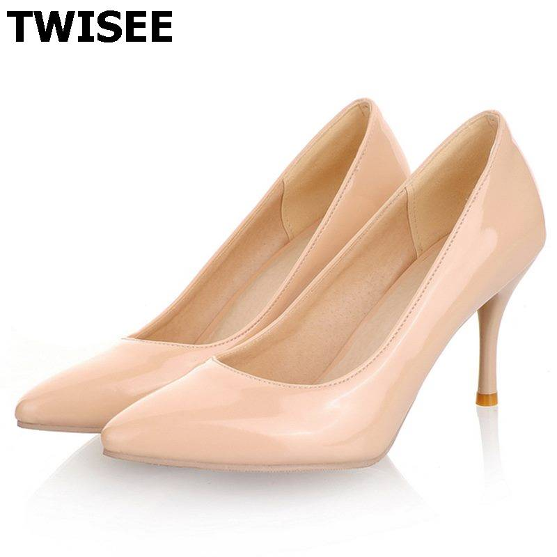 Women Nude Color Patent Leather Pumps 2017 spring Fashion Pointed Toe High Thin Heels Stilettos Slip On Party Shoes Plus Size 43<br><br>Aliexpress