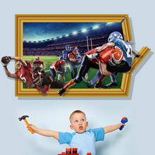 Rugby Match 3D Fake Window Wall Sticker PVC Material 3D Wall Poster for Kids Room Sofa Background Decoration Mural Sticker