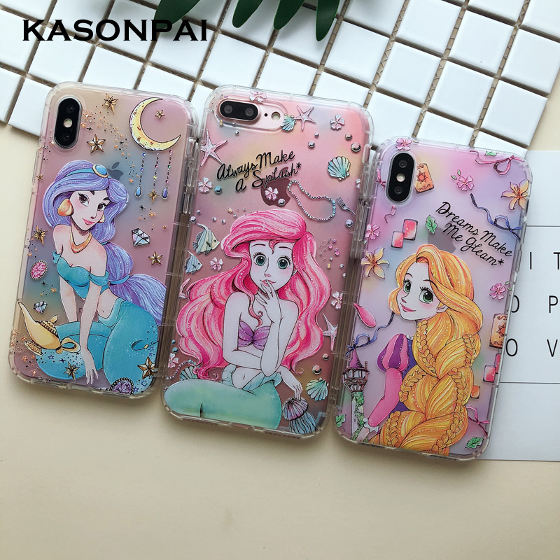 3D Cartoon Alice Princess Mermaid Phone Case For iPhone 8 7 6S 6 Plus Cute Soft TPU Back Cover Clear Case For iphone X Xs Max XR(China)