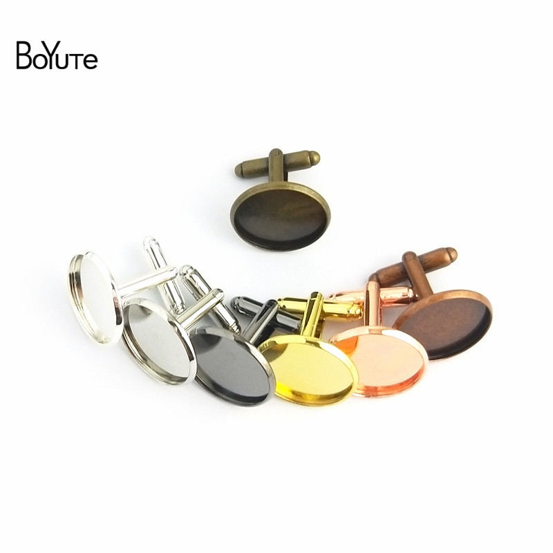 BoYuTe 50Pcs Round 12MM 14MM 16MM 20MM Cabochon Base Metal French Cufflink Blanks Tray Bezel Diy Men's Clothing Accessories (4)
