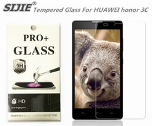 SIJIE Tempered Glass For HUAWEI honor 3C 0.26mm Screen Protector front stronger 9H hardness thin discount with Retail Package