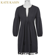 Kate Kasin Sexy Deep V-Neck Tassel String Tie Women Dress Woman Casual Loose Long Lantern Sleeve Robe Female Cotton Hemp Dresses(China)