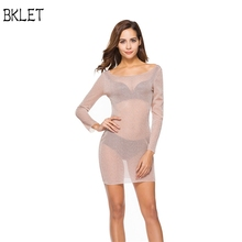 Buy 2018 New Sexy Spring Autumn Women Sexy Dresses Gauze Perspective Solid Color Long Sleeve Round Neck Ladies Casual Dress for $7.39 in AliExpress store