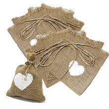 5pcs Rustic Burlap Wedding Party Gift Bag white Heart Love Linen Jute favor chic wrapping Dinner Table centerpieces casamento