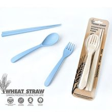 3pcs/set Biodegradable Wheat Straw Spoon Fork Chopsticks Dinnerware Set Outdoor Portable Cutlery Set Travel Tableware