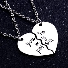 You're My Person Love Broken Heart 2PC/set Jewelry Chain Pendant Necklace Lovers Couples For Women Men