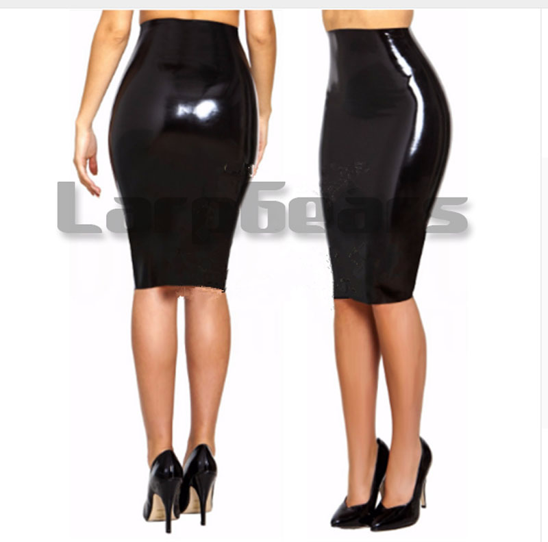 Sexy women latex long skirt exotic clubwear costumes(China)