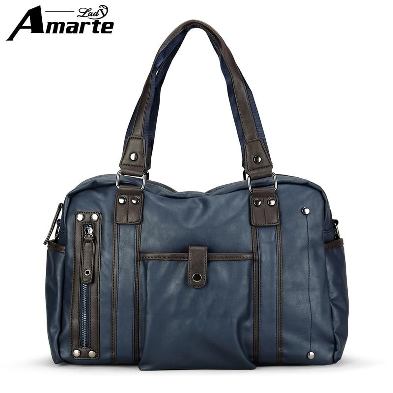 Amarte Men Pu Leather Handbags 2017 New High Quality Boston Shoulder Bag Male Multifunction Travel Handbags Big Capacity Handbag<br>