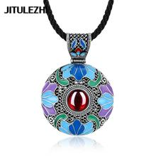 Tibetan silver Necklace inlaid crystal for lady ethnic jewelry crystal Necklace green stone jewelry Jewelry supplier gift