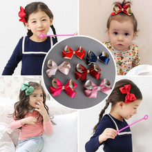 30pcs/lot new Contrast color Hair Bow Clips Deluxe Satin Ribbon Bow Knot Hair Barrette Red Dark Blue Purple Alligator Clip(China)