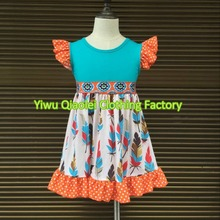 Thanksgiving baby dress feather high quality boutique high quality kids girl dress(China)