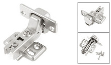 Silver Tone Metal Hydraulic Full Overlay Cabinet Hinges 100mm Long 2PCS