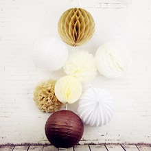 8 Pcs Paper Crafts Decorative Paper Hanging Set White / Brown / Cream Birthday Party Wedding Outdoor Decoration Honeycomb