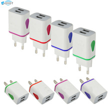 2017 LED USB 2 Ports Wall Home Travel AC Charger Adapter US EU Plug For S7 for Galaxy S5 Note4 N9000 iphone5 6 7 plus charger