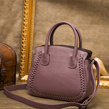 XIYUAN women Real leather handbags Lichee pattern Fashion design shopper purple tote bag Female luxurious red wine shoulder bags(China)