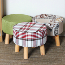 Simple Modern Fashion Stool Wood Furniture Home Outdoor Stool Super Soft Lining Fabric Shoes Stool Living Room Footstool Chair(China)