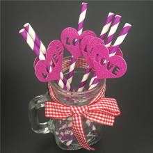 6 PCS Funny Drinking Tubes Wedding Baby Shower Decoration Drinking Straws Paper straws purple heart wedding(China)