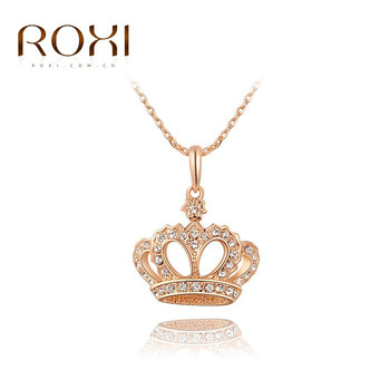 2017 ROXI Brand Crown Pendant Necklace Rose Gold Color Fashion Women Crystal Wedding Vacation Jewelry for Lady Gift