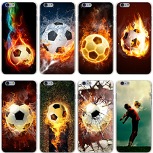 Fire Football Soccer Ball Hard Transparent Cover Case for iPhone 7 7 Plus 6 6S Plus 5 5S SE 5C 4 4S
