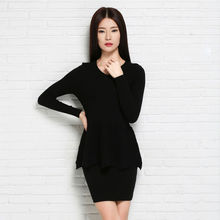 Freeshipping New 2015 Spring Autumn Women Clothing Set,Knitted Pullover Sweater+Popular Mini Skirt,2 Piece Set Women Tops SKirt(China)