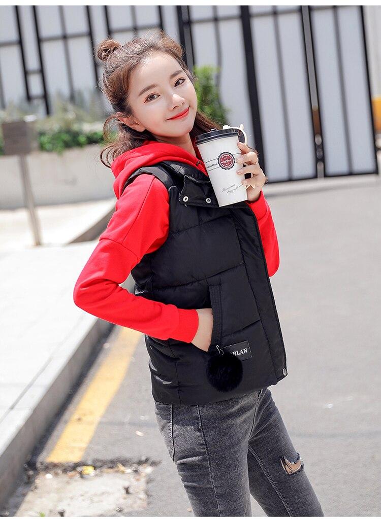NIJIUDING M-XXXL 2018 New Parka Spring Autumn Slim Velvet Women Vest Jacket Warm Cotton-padded Winter Plus Size Waistcoat female (14)