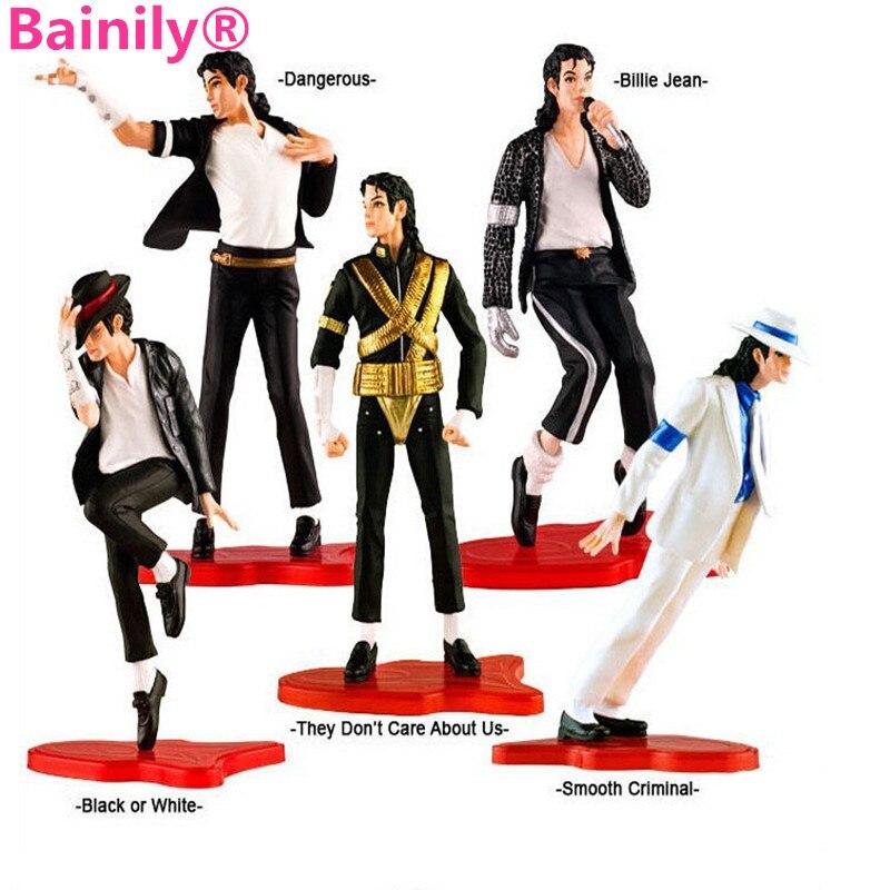 [Bainily]5pcs/lot 8-10cm PVC Michael Jackson Action Figures Collectible Model Toys 1698A<br><br>Aliexpress