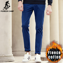 Pioneer Camp new casual winter casual pants men quality warm fleece male trousers brand men thick pants Khaki black blue 625002