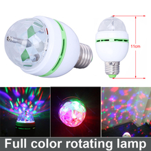 3W E27 RGB Full Color LED Bulb Crystal Auto Rotating Stage Effect DJ Disco Light Bulb Mini laser party Stage Light Free Shipping(China)
