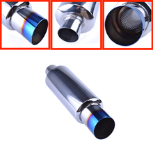 "Universal Muffler Exhaust Pipe Polished Stainless Steel Blue End/Burnt Tip Silencer 2.0 ""inlet to 3""outlet Exhaust tip Muffler(China)"