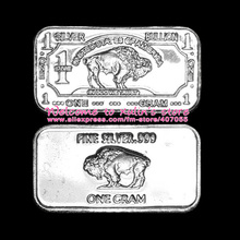 XDS0013 Classic Buffalo Silver Bar 10 Pcs 1g 999 Silver Material Stamped Not Silver Clad Non Silver Plated American Bison Design
